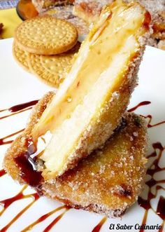 Leche frita con galletas María Cuban Recipes, Sweet Recipes, Delicious Desserts, Dessert Recipes, Venezuelan Food, Cute Snacks, Individual Cakes, Spanish Dishes, Brunch