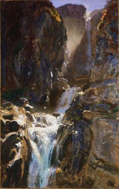 "John Singer Sargent, ""A Waterfall"", c.1910 You can almost feel the warmth of the sunlight and cool mist coming through the painting."