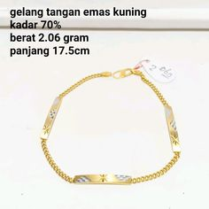 Beli gelang wanita plat emas kuning kadar 70 dari toko emas jfaf tokoemasjfaf - Jakarta Utara hanya di Bukalapak Jakarta, Bracelets, Gold, Jewelry, Fashion, Dish, Bangle Bracelets, Jewellery Making, Jewlery