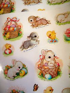 Hallmark quartet. Set of 4 sheets of vintage Easter stickers, perfect condition.
