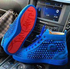 Louboutin man shoes / red carpet blue shoe
