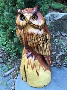 CHAINSAW CARVED OWL RED CEDAR WOOD CHAINSAW WOOD CARVING GARDEN RUSTIC LOG DECOR