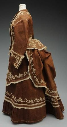 Stunning 1860-1870s dress, 3 pieces with soutache braid and eyelet trim, back bustle.