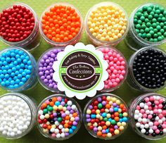 Candy Beads Sprinkles for Cupcakes, Cookies, Cake Pop Decorating - PICK 3 COLORS (2 oz jars). via Etsy.