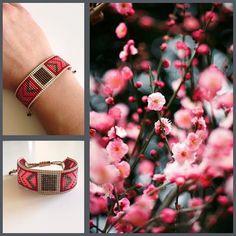 Bracelet Peau d'Anne Tissage Miyuki fait main en France Perles rouge, gold et champagne Concept store dédié aux créatrices d'Accessoires