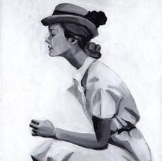 Vintage lady with hat /original acrylic/ vintage Paintings.     from one of my fav shops on Etsy