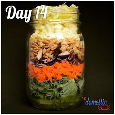 From - Day 14 - Crunchy Coleslaw - 2 tbsp white wine vinaigrette ½ cup kale, finely chopped 1 carrot, shredded ½ cup red cabbage, shredded ¼ cup sunflower seeds ½ savoy cabbage, shredded - What has been your favourite salad recipe so far this month? Savoy Cabbage, Red Cabbage, Mason Jar Meals, Meals In A Jar, Ways To Stay Healthy, How To Stay Healthy, Salad Recipes, Jar Recipes, Simple Recipes