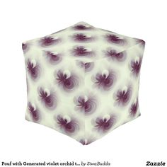 Pouf with Generated violet orchid textile Cube Pouf