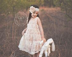 Girls Champagne Lace Dress & Headband Rustic by BabicakesCouture