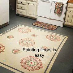 DIY Painting floors with stenciled rug design Painting Fabric Furniture, Fabric Painting, Diy Painting, Painted Kitchen Floors, Painted Floors, Faux Brick Panels, Brick Paneling, Floor Cloth, Floor Rugs