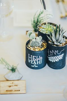 DIY succulent wedding favors that add to the rustic wedding theme // Nigel and Weiqi's Succulent-Filled DIY Wedding