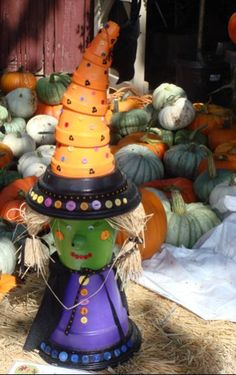 Great idea for a Halloween decoration. May be a bit pricey so try to buy the pots on sale, or at Walmart :-)