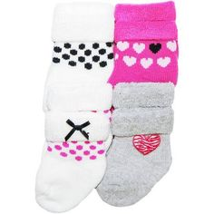 Child of Mine by Carter's Newborn Baby Girl Terry Tip 4-Pack Socks