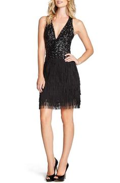 Dress the Population 'Stella' Sequin & Fringe Halter Dress
