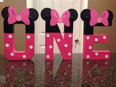 These are priced per letter Please make sure to order the correct quantity of letters from the drop down box to spell the name you would like These custom made letters are painted and decorated to look like the Minnie Mouse and are 8 tall. These are lightweight and made of mâché