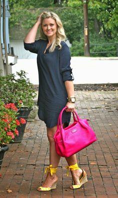 The Perfect Fall Transitional Dress, navy blue dress, pink handbag, yellow shoes: