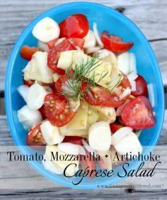Tomato, Mozzarella & Artichoke Caprese Salad | Living Surrendered | www.livingsurrendered.com #mozzarella #glutenfree #caprese