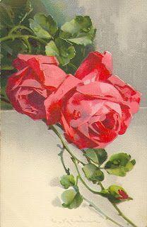 Коллекция картинок: Антикварные открытки с розами