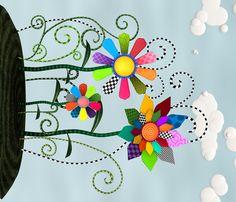 Whimsical Flowers - Border fabric by bonnie_phantasm on Spoonflower - custom fabric