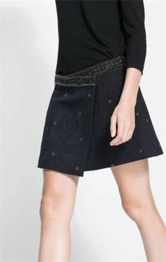 ZARA BLACK JACQUARD SKIRT WITH EMBELLISHED EMBROIDERED BEADED WAIST SIZE L BNWT