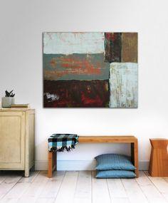 Modern schilderij  Velden in bruin  Acrylic  80cm door RonaldHunter, $349,00