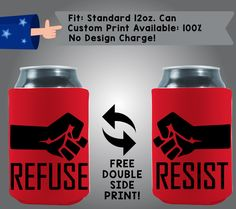 Refuse Resist Collapsible Neoprene Cooler Double Side Print (Misc-3) by CoolestWizards on Etsy
