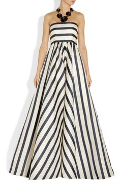 Oscar de la Renta|Striped silk-blend gazar gown|NET-A-PORTER.COM
