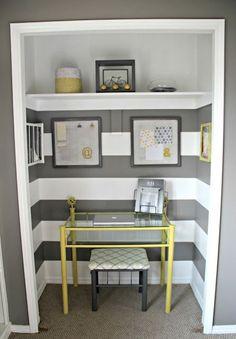 Closet Office Idea! Love the gray outside the closet and the gray stripes inside the closet! Cute!!!