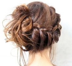 braid/ messy bun. Wish I could figure out how to do this to myself.