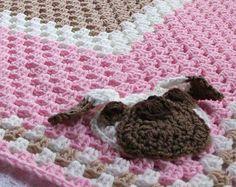 Pink Puppy Blanket, Pug Baby Blanket, Crochet Baby Blanket, Crochet Granny Square Baby Blanket, Pink Baby Blanket, Crochet Dog Blanket