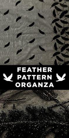 Black Silk Organza with Black Lurex Feathers #Inspiration #Shiny #Glamorous www.bandjfabrics.com
