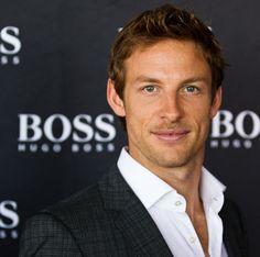 Jensen Button with Boss sport. Boss Bottled, Sport F1, Sports Celebrities, F1 Drivers, Sharp Dressed Man, Grey Shirt, My Man, Mens Suits, Men Dress