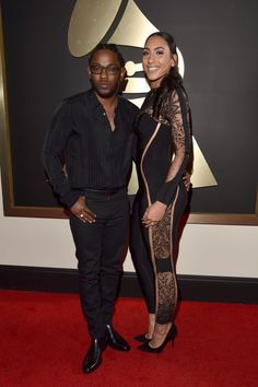 Kendrick Lamar and fiancée Whitney Alford arrive at the 58th Annual GRAMMY Awards on Feb. 15 in Los Angeles