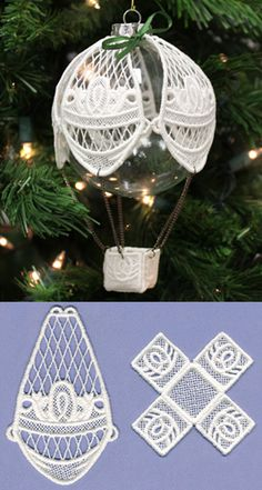 Christmas-Craft idea-Hot Air Balloon Ornament Cover (Lace) design (UTZ1541) from UrbanThreads.com