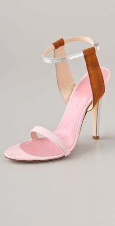 Light pink and caramel suede ankle strap sandals