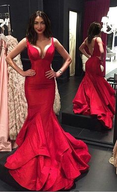 New Arrival Red Sexy V Neck Mermaid Prom Dress 35a67b64bfa9