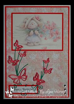 Delphinoid's Cards and Craft: Birthday Card - Flowers and Butterfly Flourishes