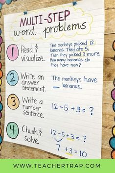 Simple strategies for helping students master multi-step word problems! Word problems with multiple steps and different operations can be tricky for students. This easy process helps kids break down the problem and think through the steps. Fourth Grade Math, Second Grade Math, Grade 2, Math Strategies, Math Resources, Word Problems 3rd Grade, Eureka Math, Math Problem Solving, Solving Equations