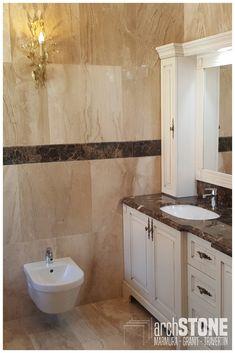 Blat Baie Marmura Emperador Dark Double Vanity, Bathrooms, Dark, Bathroom, Bath, Bathing