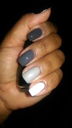 Gray ombre nails!!! Essie Cashmere Bathrobe, Sinful Colors My Turn, China Glaze Pelican Gray, and Essie Marshmallow (Sinful Colors Black on Black on the thumb)