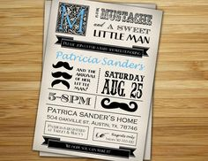 Mustache baby shower invitation - Little man mustache boy baby shower invite- DIY mustache party printable decorations. $12.00, via Etsy.