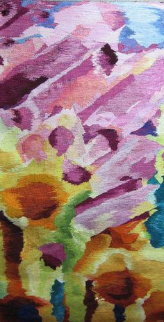 Spring Burst. Joan Griffin Tapestry. For more spring-themed fiber art, see the Spring 2013 issue of FiberArtNow.net magazine.