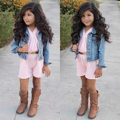 Pastel Pink Kinda Monday  #BigHairDontCare #MissG #TinyMissFashion  Romper from @minishe  Boots @tanias.boutique