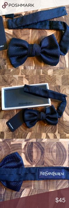 YSL silk bow tie w tag and original packaging YSL sublet navy and white polka dot bow tie with tag / never worn/mint condition / original packaging / silk / fully adjustable Yves Saint Laurent Accessories