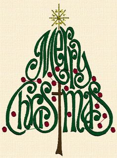 Merry Christmas Tree Words machine embroidery design file