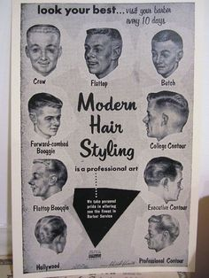 I won't only be working on womens hair so it will be necessary for mebto keep up to date on men's styles as well.  http://www.ebay.com/itm/1957-Barbershop-Modern-9-Haircut-Photo-Chart-Sign-Ads-/380414871725?pt=LH_DefaultDomain_0=item58927e48ad