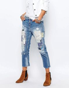 Image 1 of Replay Gracelly Boyfriend Jeans With Paisley Patches