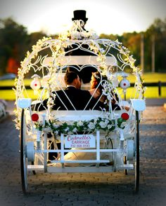 Newlyweds driving off into the sunset from The Park Chateau in our Cinderella Carriage.