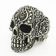 925 Solid Sterling Silver Punk Skull Various Flower Engraved Biker Sugar Ring