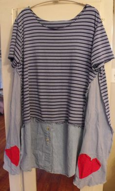 Patched/Flouncy/Funky/Boho/Navy Stripe/Hand Dyed by SheerFab, $48.00